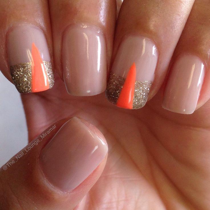 Gold coral gel nail art design