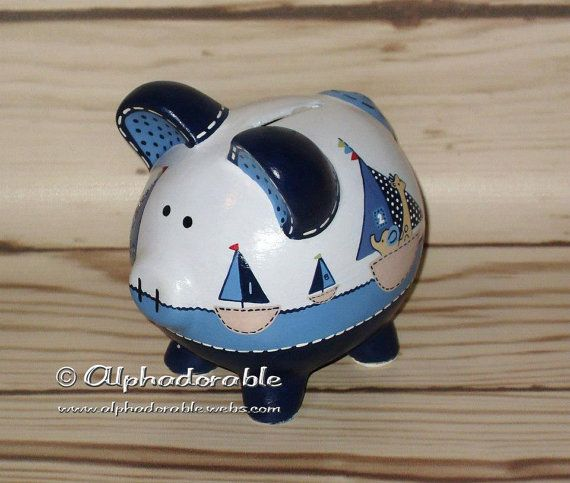 69 best images about custom hand painted piggy banks on pinterest brooklyn nursery bedding - Nautical piggy banks ...