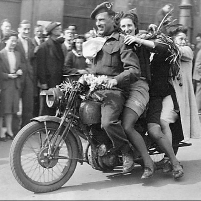 That's Captain William Roberts of the Seaforth Highlanders of Canada in 1945, following the liberation of Holland. As is evident, 4 years of training in England yielded some impressive motorcycling skills!