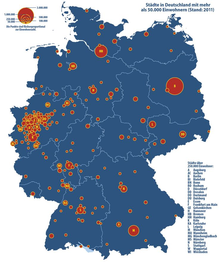 Germany: Cities with 50,000 or more inhabitants