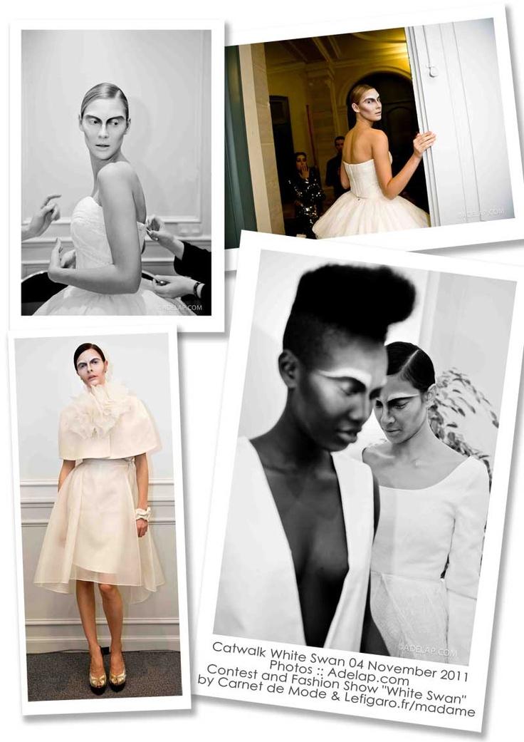 Silk dress with wool cape and organza ruff during the White Swan Fashion Show in Paris.  /Backstages du Défilé White Swan organisé par Carnet de Mode et Madame Figaro lors du salon Les Coulisses du Mariage