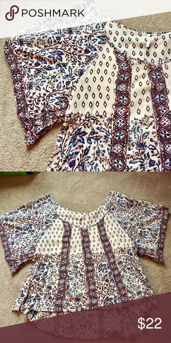 Free People tribal shirt High-low design! Flared sleeves! Worn a few times and in excellent condition! Free People Tops