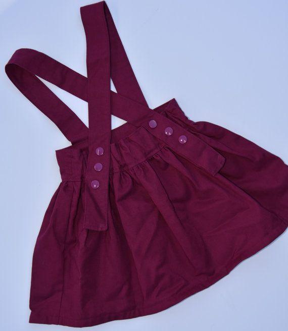 Hermosa marrón / falda de tirantes Borgoña / por GardenOfEadie