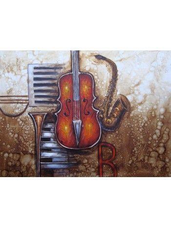Cento-ventI quadro a olio su tela dipinto a mano. Stile tema musicale.