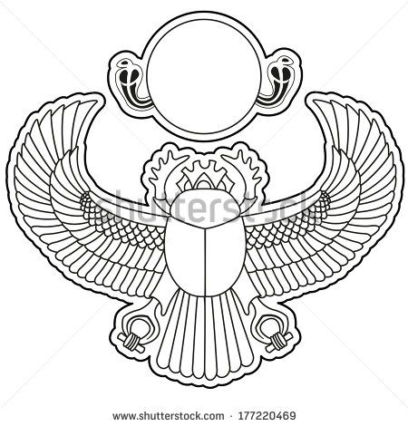 Egyptian Winged Scarab Beetle Drawing Silhouette Scarab
