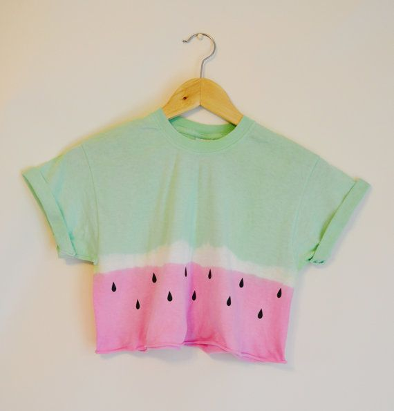 Tie Dye Dip Dye Crop Top Cropped T Shirt Summer Holiday Hipster Festival Watermelon Small + Medium Pink / Green