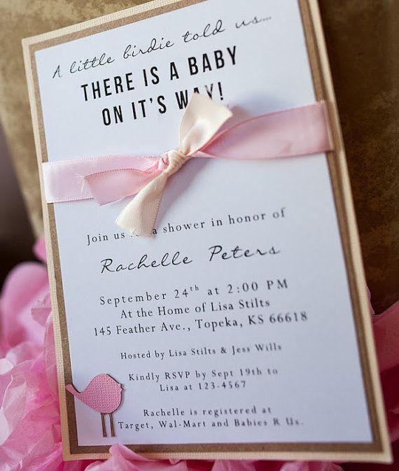 Elegant Handmade Bird Baby Shower Invitations By EmbellishedPaper On Etsy, $2.25