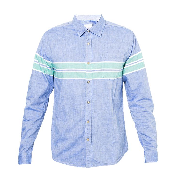 Mens Shirt by Cressida. blue shirt with green stripes on the chest, long sleeves, front button, front pocket, regular fit, this blue shirt made from cotton, perfect shirt for hang out or as a office outfit. http://www.zocko.com/z/JIxbp