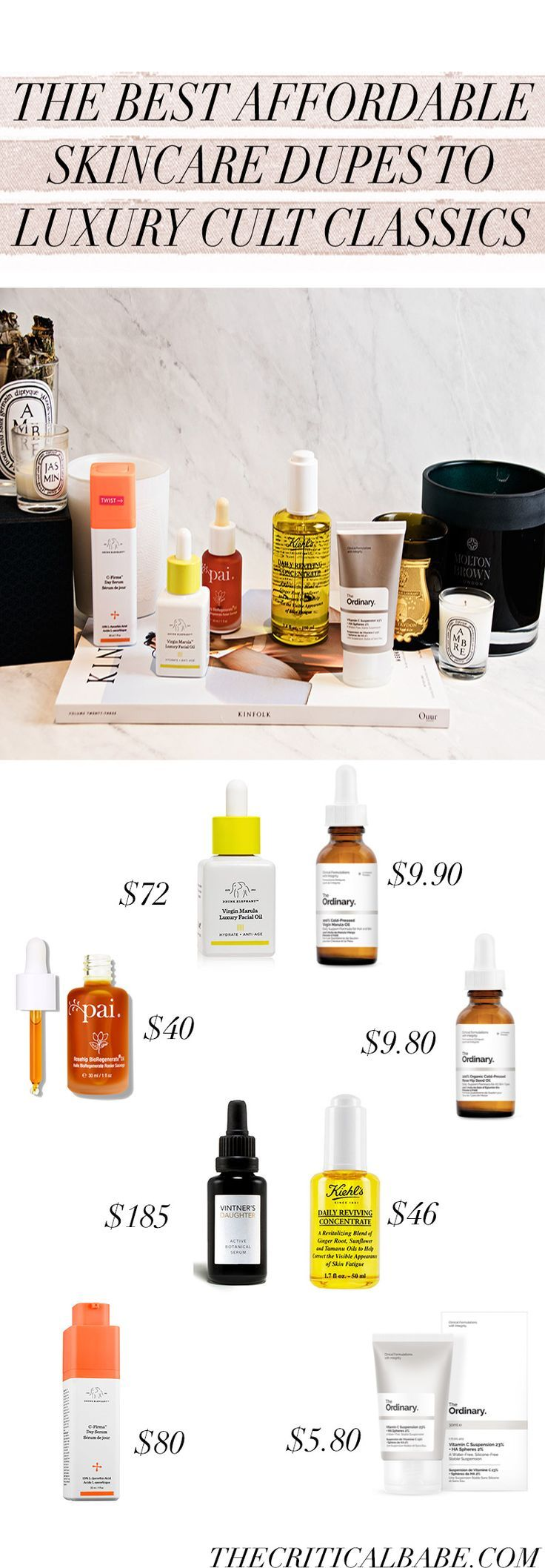 Affordable skincare dupes to some cult classics! Today I'm bringing you some dupes to Drunk Elephant's C Firma, Pai's Rosehip Seed Oil, Vintner's Daughter Active Botanical Serum, and the Marula Oil by Drunk Elephant. Some of these are provided by Deciem's The Ordinary and some are surprises!