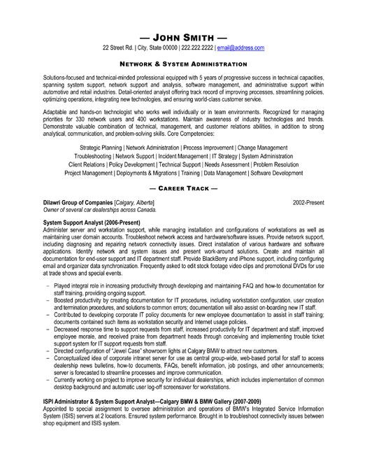 network administrators resume