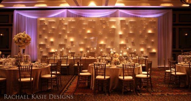 Candlelit wall art by Rachel Kasie Designs. Chiavari Chairs by A Chair Affair, Orlando.