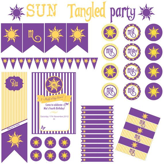 Sun Tangled Rapunzel Party - Festa a tema Sole Rapunzel Raperonzolo - Printable Party