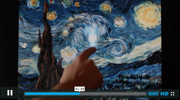 "Starry Night (interactive animation)  Try to visualize the flow of the famous painting ""Starry Night"" of Vincent Van Gogh.  The user can interact with the animation. Also, the sound responds to the flow."
