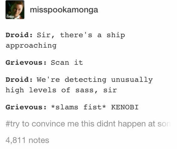 """if anything the """"high levels of sass would be coming from a Anakin. If there was high levels of a person who trolls everyone, that's kenobi."""