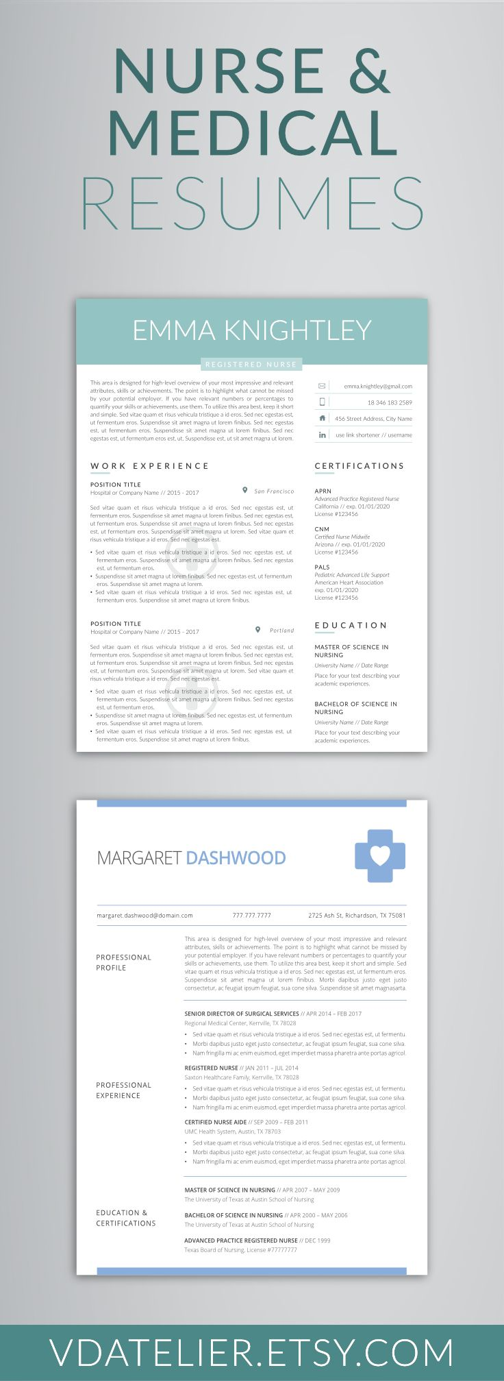 Nurse/Medical Resume Template | Minimalist, Clean, Simple, Professional and Creative Resume | Instant Download | Cover Letter & References | Modern Resume