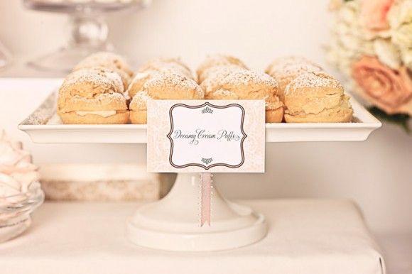 white wedding cream puffs