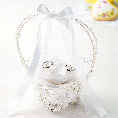 リングピロー〔カゴ・ホワイト〕手作りキット|結婚式演出の手作りアイテム専門店B.G.