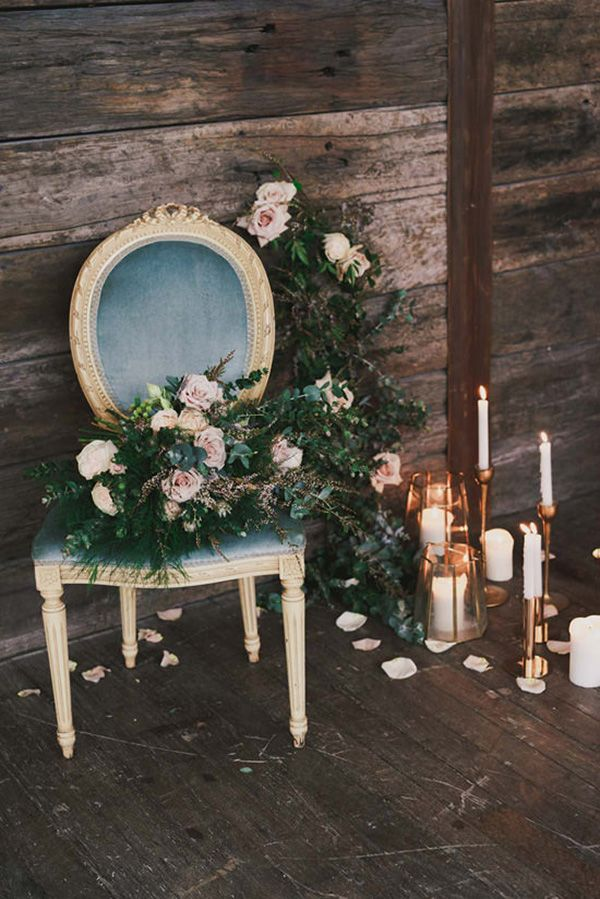 Indoor Rustic Chic Wedding Decor | Blush Wedding Photography on @polkadotbride via @aislesociety