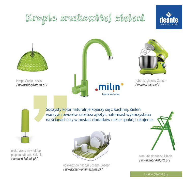 Milin - green kitchen mixer, Deante.