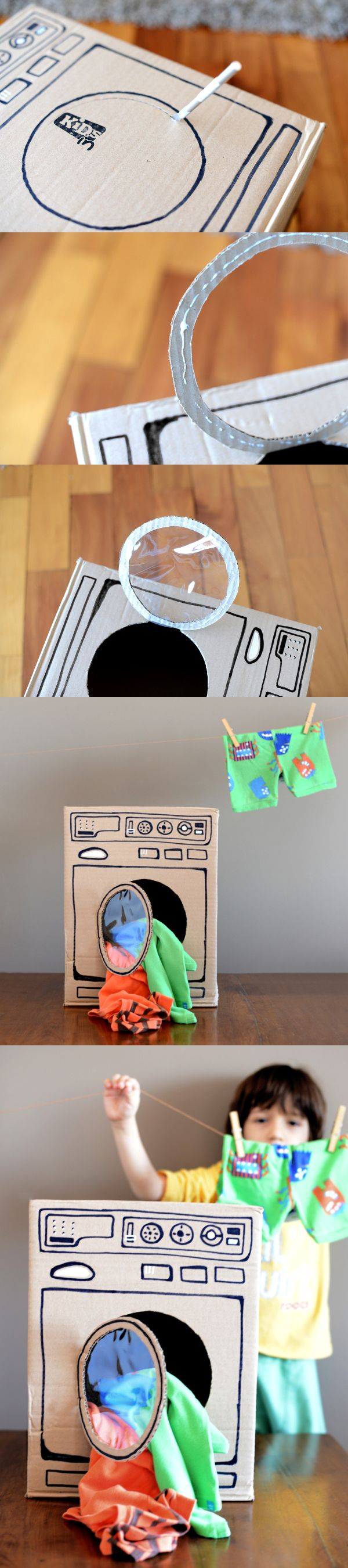 DIY toys cardboard washing machine