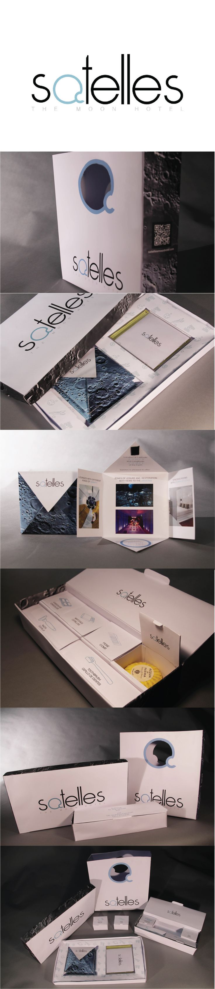 Satelles - The Moon Hotel  Welcome packaging design.  MM - María Mateos