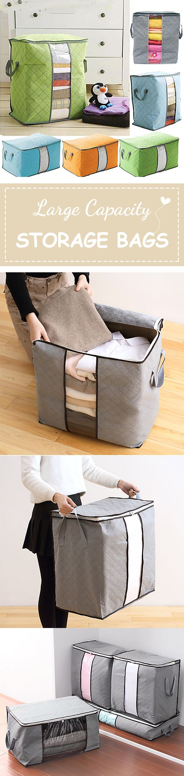 US$5.59 High Capacity Clothes Quilts Storage Bags Folding Organizer Bags Bamboo Portable Storage Container