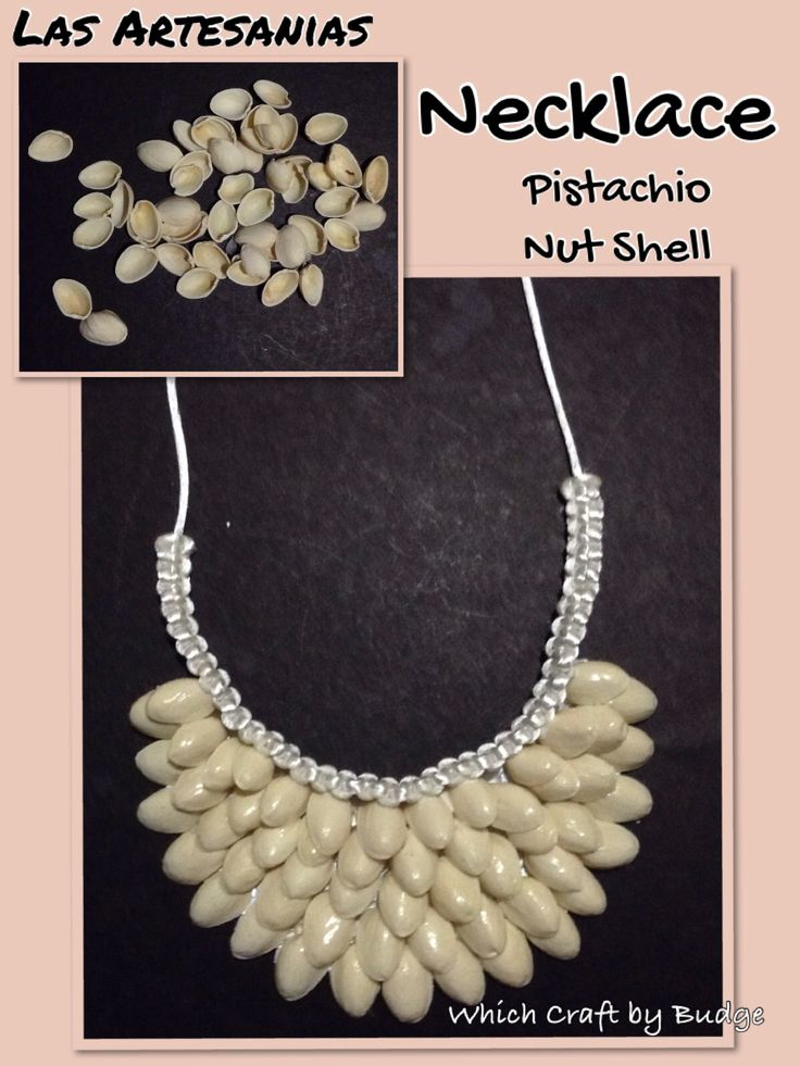 Recycled pistachio nut shell necklace - Clink the link and add Las Artesanias to view more hand crafted products. https://www.facebook.com/LaArtesano
