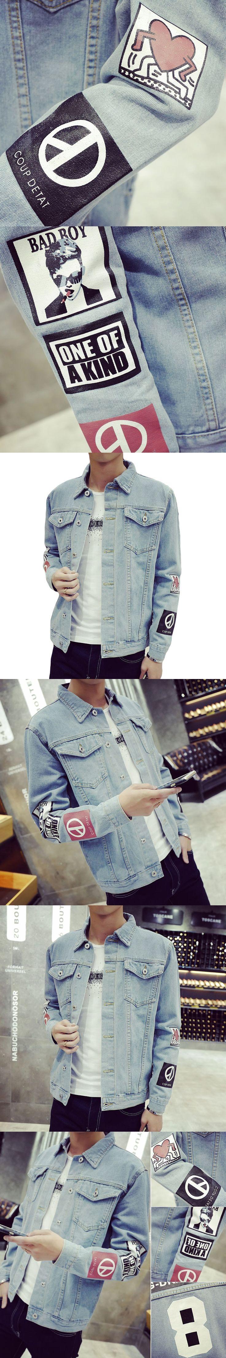 Fashion Men's Denim Jacket M-5XL Men Windbreaker Blue Hip Hop Casual Jeans Outfit Korean Slim Fit Mens Jackets and Coats TC455