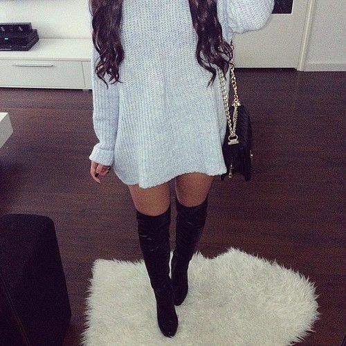 Sweater dress, thigh high boots.