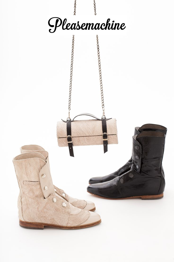 Tiny Barrel Clutch with shoulder chain and Colonel Boots. Nude reptile and Black leather.