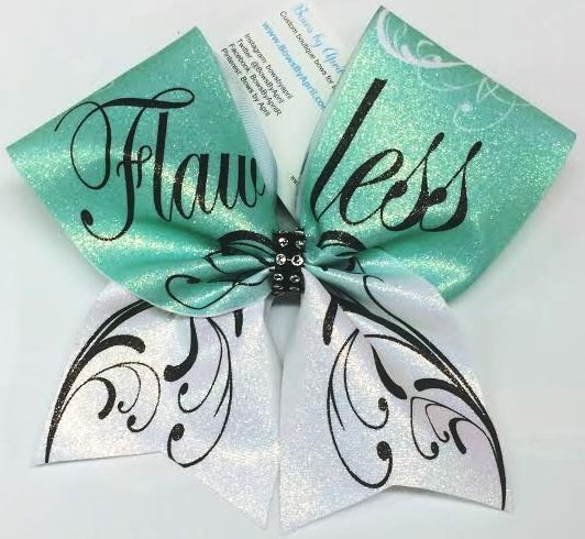 Bows by April - Mint Flawless Swirls Glitter Cheer Bow, $18.00 (http://www.bowsbyapril.com/mint-flawless-swirls-glitter-cheer-bow/)