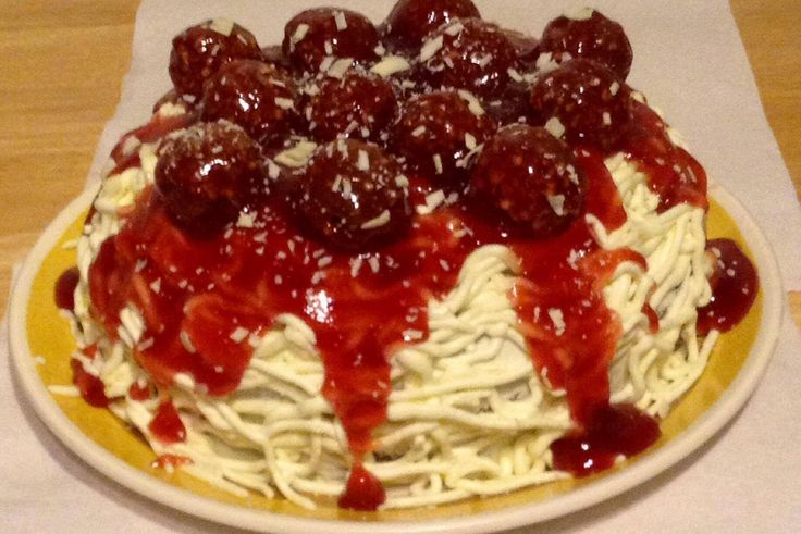 Spaghetti and meatball cake. Doesn't look like a cake at all.