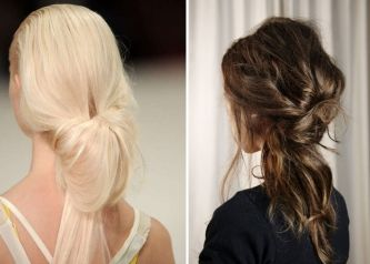 An inside out ponytail is a simple, romantic style which suits medium to long hair. Simply pull your hair back into a loose ponytail, split the ponytail in half between your head & the elastic, and feed the ponytail back through the hole. Make sure you keep this look soft & ethereal so that the hair looks loosely draped. You can also create messy, tousled tousled waves using a GHD or curling tongs before pulling your hair back into a ponytail.