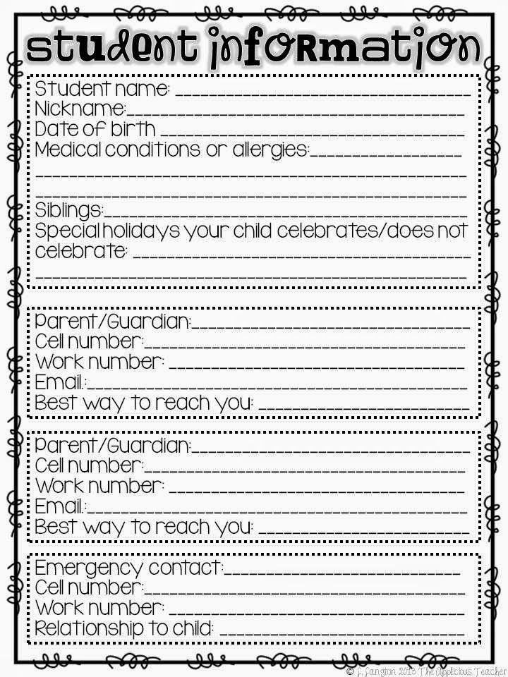Simple one page student information sheet. Perfect to keep in your student folders.