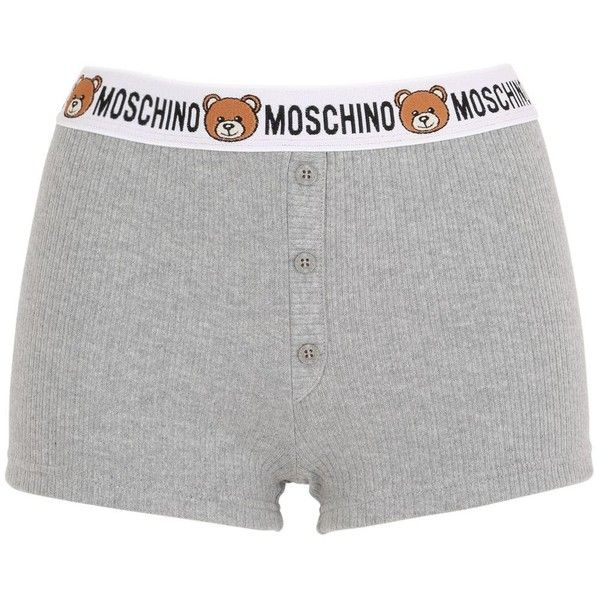 Moschino Underwear Women Teddy Bear Logo Ribbed Cotton Shorts ($82) ❤ liked on Polyvore featuring lingerie, grey and moschino