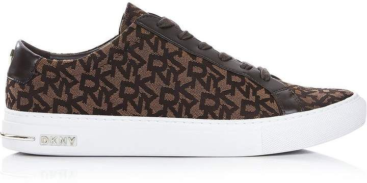DKNY Court Lace Up Logo Trainers- Brown