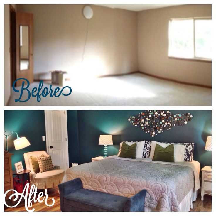 Before And After Of My Master Bedroom. Wall Paint Color Is Realm By Behr