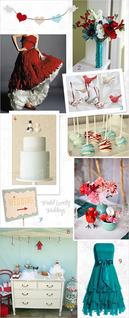 Board Inspiration Red and Teal Birds Wedding ; Inspiración para boda en tonos rojos y turquesas, con temática de aves.