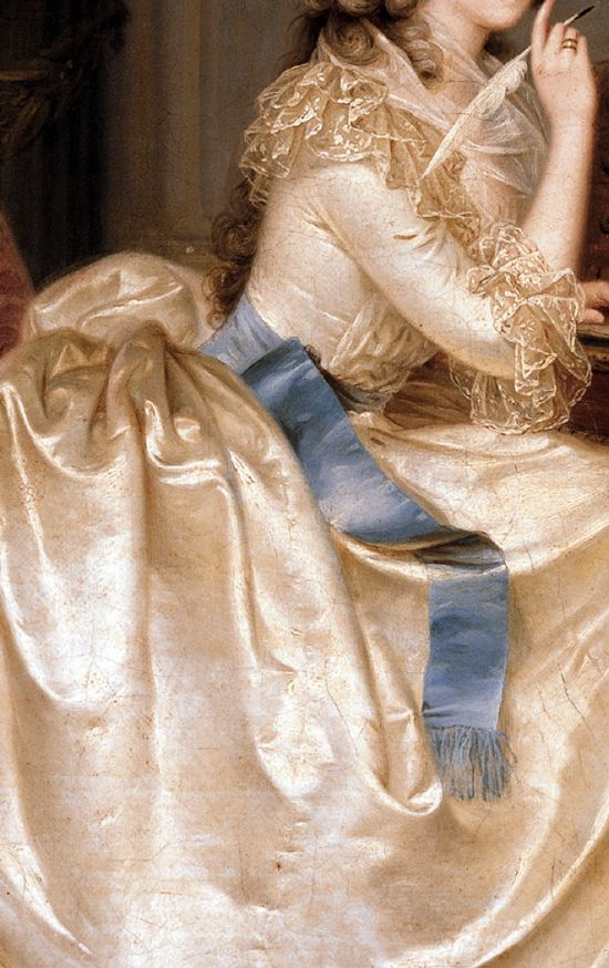 Gown and Sash detail from Portrait of the Princess of Lamballe, 1788, by Anton Hickel http://commons.wikimedia.org/wiki/File:1788_portrait_of_the_Princess_of_Lamballe_by_Anton_Hickel_at_the_Liechtenstein_Museum,_Vienna.jpg