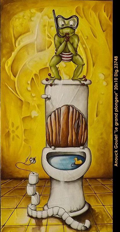 Oeuvre original par / original painting by: Anouck Goulet vailable at le Blacon d'art. multi-art.net/... #art #anouckgoulet #multiartltee #acrylicpainting #canadianartist #quebecartist #frog 3whimsical #balcondart