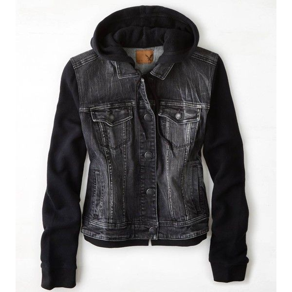 American Eagle Denim Vested Hoodie ($65) ❤ liked on Polyvore featuring outerwear, vests, jackets, hoodies, ae, denim vest, black waistcoat, american eagle outfitters, hooded denim vest and black hooded vest