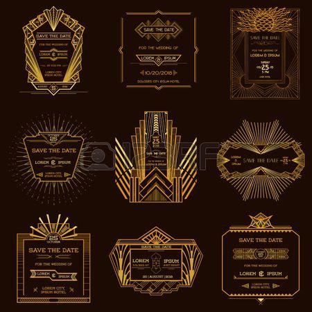 日付 - 結婚式招待状セット - アールデコのビンテージ スタイルを保存します。 ロイヤリティフリークリップアート、ベクター、ストックイラストレーション。. Image 30091066.