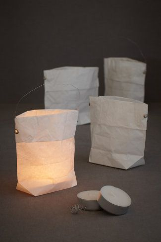 A sweet kit containing four crisp paper lanterns, tealights, and the wire to string them. We imagine these lining the aisle of a ceremony at dusk, illuminating tables, or strung from tree to tree.