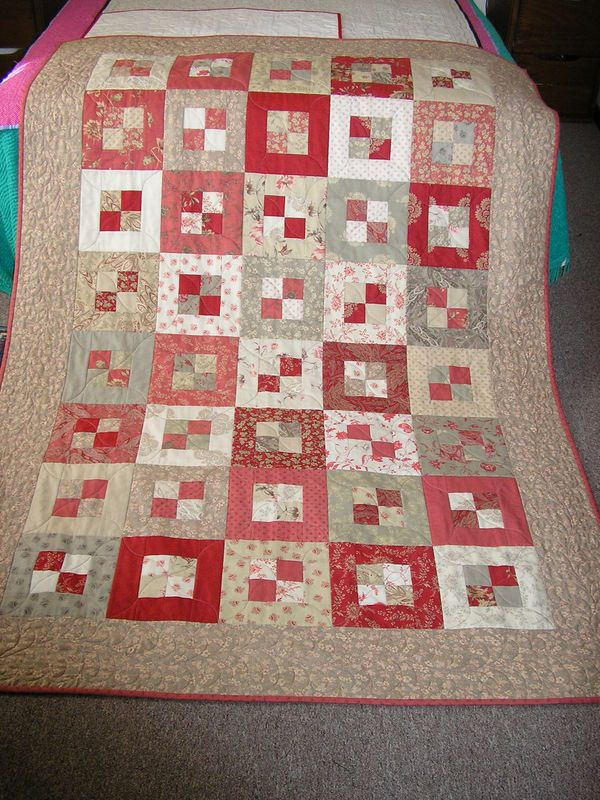 "Jelly Roll, and 2metres for border and binding. The quilt is 76""x52"", and the pattern is ""Pandora's Box"" from Pam Lintott's Jelly Roll Quilts book."