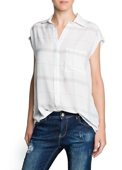 MANGO - KLEDING - Tops - Geruite soepele blouse