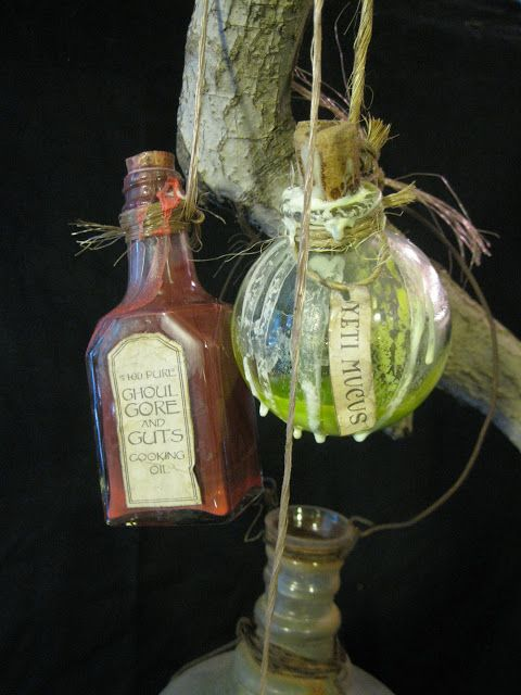 hanging bottles in witches kitchen