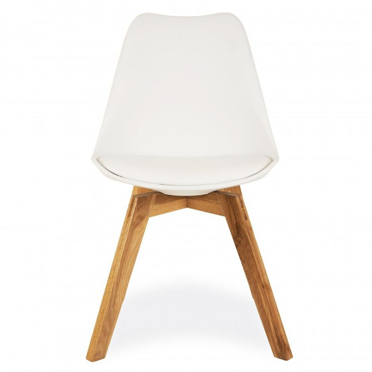 Eames Inspired White Dining Chairs With Solid Crossed Oak
