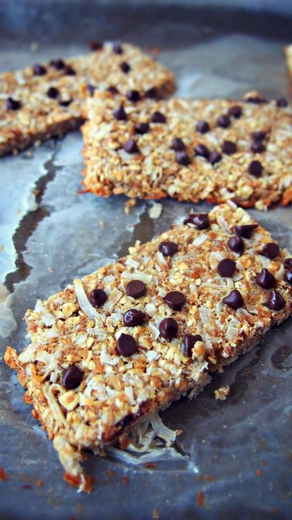 1 Bar : Calories 85, Fat : 4g, Carbs 14g, Fiber 5g, Sugar 2g, Protein 3.4g   Ingredients:        1 Cup Unsweetened Organic Coconut      1 Large Banana (Extra Ripe)      1 Cup Whole Grain Oats       1 Tbsp Organic Vanilla Extract       1/2 Cup Ground Flax Seed       1/4 Cup Unsweetened Almond Milk      2 Tbsp Mini Vegan Chocolate Chips       1 Packet Truvia (Your Choice Of Sweetener)