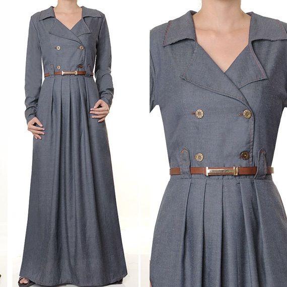 Cotton Denim Career Abaya Muslim Islamic Long by MissMode21, $30.00