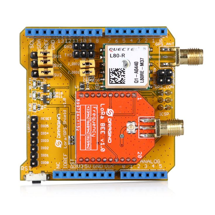 Long distance wireless 433/868/915Mhz Lora and GPS Shield for Arduino